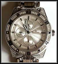 Men's Bulova Quartz Watch w/ Swarovski Crystal Accented Bezel - For Parts Only