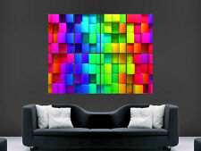 BLOCKS RAINBOW COLOUR DIGITAL BRIGHT WALL POSTER ART PICTURE PRINT LARGE  HUGE