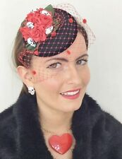 NERO TESCHIO rosso Rose Cappello Fascinator Con Velo Rock Goth Halloween lolita punk