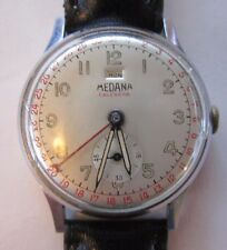 Vintage 50's Medana Day Date Calendar Wristwatch Stainless Steel