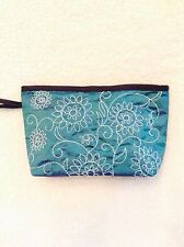Wholesale 5 lots of Green Turquoise Silk Taffeta Embroidery Cosmetic Bag Pouch