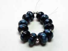 "HANDMADE LAMPWORK GLASS  BEADS, ""BLACK / TURQUOISE """