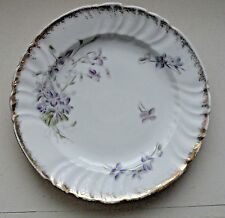 """Pair (2) 1800s Caughley 8"""" Porcelain Salad Plates Purple Gold and Green Floral"""