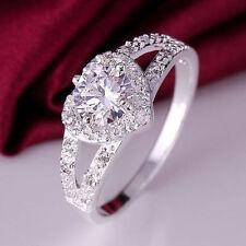 * Regno Unito * 925 argento placcato Moda Donna Cuore di cristallo Dimensione N Anello Gioielli Regalo
