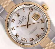 Rolex Mens Datejust Two Tone 18k/SS-White Roman MOP Dial-18k Fluted Bezel 36mm