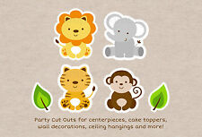 Cute Jungle Safari Animals Party Cutouts Decorations Printable