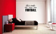LIFE IS SIMPLE FOOTBALL BOY LETTERING DECAL WALL VINYL DECOR STICKER ROOM SPORTS