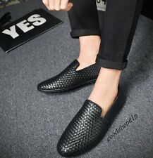 Mens New Fashion Faux Leather Woven Breath Slip On Casual Driving Shoes Loafers