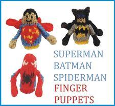 Superhéroe dedo Títeres, Tejer patrón. Batman, Superman, Spiderman