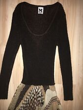 M Missoni Italy Brown Autumn Patterned Tiered Knit Dress Pleated XS Sz 2 NICE