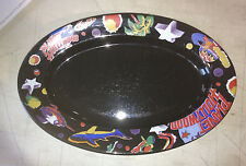 """Planet Hollywood Black Oval Serving Platter Dish Plate 14x10"""""""