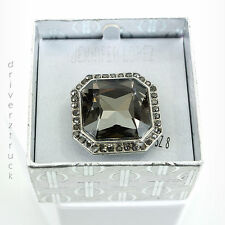 JENNIFER LOPEZ Size 8 LARGE Faux GRAY CRYSTAL RING Octagon SILVER Gift Box