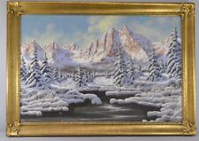Miklos Neogrady Original Oil Painting On Canvas Of Mountain Snow Scene Landscape