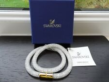 100% Authentic Swarovski Gold Clasp Stardust Double Wrap Bracelet - White. M