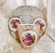 VINTAGE China C.P. LIMOGES Cup & Saucer FRAGONARD French CRINOLINE LADY Romance