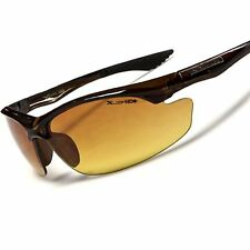 Brown Day Night Driving Biking Amber HD Lens Mens Wrap Stylish Sport Sunglasses