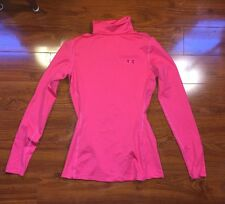UNDER ARMOUR Cold Gear Womens FITTED Long Sleeve Medium Mock Neck Shirt Top Pink