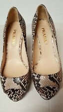 $1,100+  PRADA Python Leather Platform Pump Heel Shoes Women's size 6