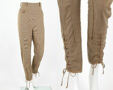 VTG HERMES TAN BROWN HIGH WAISTED LACE-UP JODHPUR EQUESTRIAN RIDING PANTS S / M