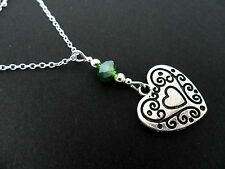 "A PRETTY HEART AND GREEN CRYSTAL 18"" PENDANT NECKLACE. NEW."