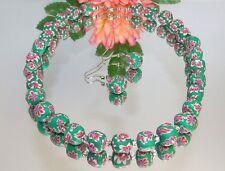 # SCHMUCKSET KETTE OHRRING FIMOPERLE mehrfarbig strass grün 480b