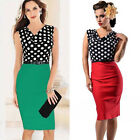 Sexy Women V Neck Slim 50s 60s Vintage Sheath Cocktail Polka Dots Evening Dress