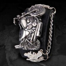 Mode Damen Herren Biker Breit Armband Punk Gothic Motorrad Quartz Uhr Leder Neu