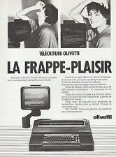 PUBLICITE   MACHINE A ECRIRE  OLIVETTI TYPEWRITER  MATERIEL DE BUREAU AD  1985