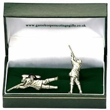 Shooter Game Clay Pigeon Cufflinks Ideal Hunting Shooting Gift Boxed Pewter UK