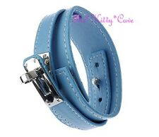 Unusual Wide Blue Leather Wrap Silver Buckle Punk Rock Wristband Bracelet Cuff