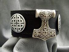 Leder Armband Thor's Hammer Neu Mjölnir Armschmuck NEU Wikinger Größe 17-20,5cm