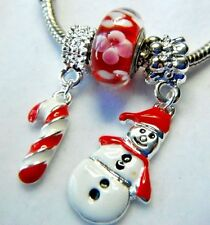 SNOWMAN CHARM EUROPEAN CHRISTMAS CANDY CANE DANGLE MURANO GLASS PANDORA POUCH