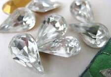 Vintage Rhinestone Jewels Clear Glass Pear Czech Teardrop 13x8mm