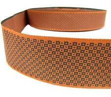 "1 Yd Orange Blocked Polka Dot Woven Jacquard Ribbon 1 7/8""W"