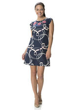 NWT STS Sail to Sable Beaded In Your Best Loop Print Navy Blue Dress Size 6