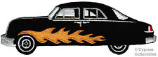 HOT ROD CAR PATCH iron-on embroidered AUTOMOBILE FLAMES FLAMING RACECAR BLACK