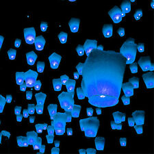 20 BLUE UFO Sky Fire Eco lanterns 100% Biodegradable chinese lanterns FREE P&P