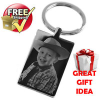VALENTINES Day Silver Rectangle Keyring PHOTO ENGRAVED FREE P&P Great Gift