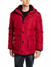 Calamar 20211218 Red Quilted Down & Feather Filled Jacket With Detachable Hood