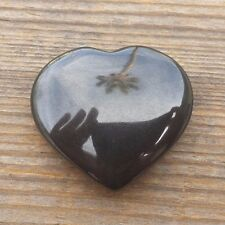 NATURAL OBSIDIAN GEMSTONE PUFFY HEART 30-35mm