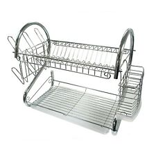 22 inch TRAY & CUTLERY HOLDER CHROME PLATED METAL DISH DRYER DRYING DRAINER RACK