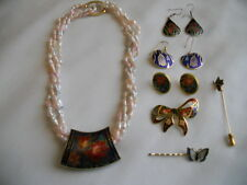 VINTAGE CLOISONNE ENAMEL JEWELRY LOT 7pcs MEOW EARRING FRESHWATER PEARL NECKLACE