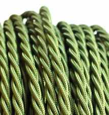 OLIVE GREEN TWIST vintage style textile fabric electrical cord cloth cable 1m