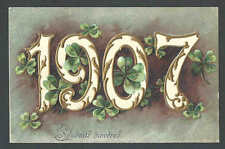 1906 PPC* VINTAGE 1907 NEW YEARS CARD EMBOSSED COLORFUL