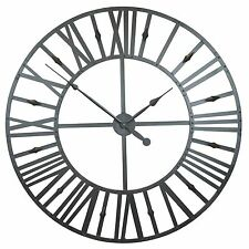 Extra Large 110cm Rustic Industrial Roman Numeral Metal Wall Clock Limited Qty