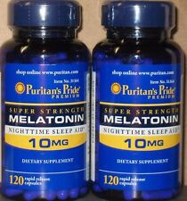2 x 120 Puritan's Pride Super Strength Melatonin 10 mg - 240 Capsules  Sleep Aid