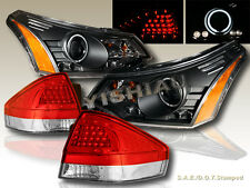 2008-2011 FORD FOCUS PROJECTOR HEADLIGHTS LED CCFL HALO +TAIL LIGHTS LED RED/CLR
