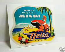 Delta Airlines Miami Vintage Style Travel Decal / Vinyl Sticker, Luggage Label