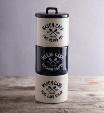 Mason Cash VARSITY TEA COFFEE SUGAR Stacking CANISTERS Storage Jars CREAM Blue