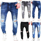 JOGG-JEANS HOSE BIKER-LOOK RISSE SLIM FIT JOGGINGHOSE in JEANS-LOOK Blau NEU